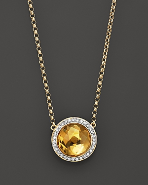 Bloomingdale's Citrine and Diamond Round Pendant Necklace in 14K Yellow Gold, 16.5 - 100% Exclusive