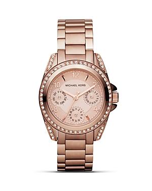 Michael Kors Round Rose GoldTone Glitz Sport Watch, 33mm