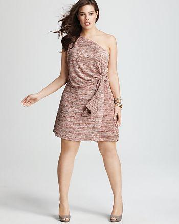 Tbags Los Angeles Plus Size Printed Raschel One Shoulder Dress