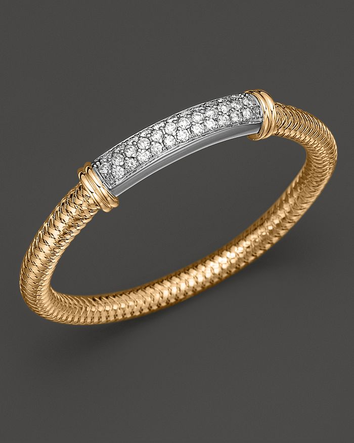 Roberto Coin - 18K Yellow Gold Primavera Mesh Bangle with White Gold and Diamond Bar, 1.35 ct. t.w.