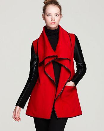 Mackage - Boa Drapey Leather Sleeve Coat
