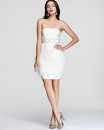 Sue Wong - Sue Wong Strapless Feather Dress