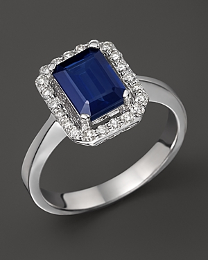 Click here for Diamond & Sapphire Ring in 14K White Gold - 100 Ex... prices