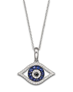 "Diamond and Blue Sapphire Evil Eye Pendant Necklace in 14K White Gold, 18"" - Bloomingdale's_0"