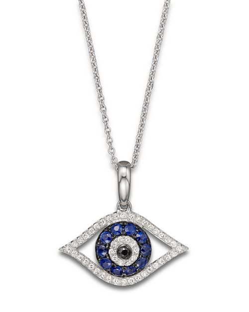 """Bloomingdale's - Diamond and Blue Sapphire Evil Eye Pendant Necklace in 14K White Gold, 18""""- 100% Exclusive"""