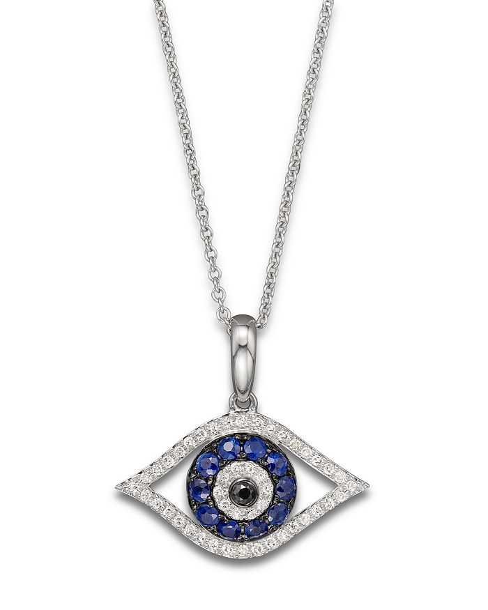 "Bloomingdale's - Diamond and Blue Sapphire Evil Eye Pendant Necklace in 14K White Gold, 18"" - 100% Exclusive"