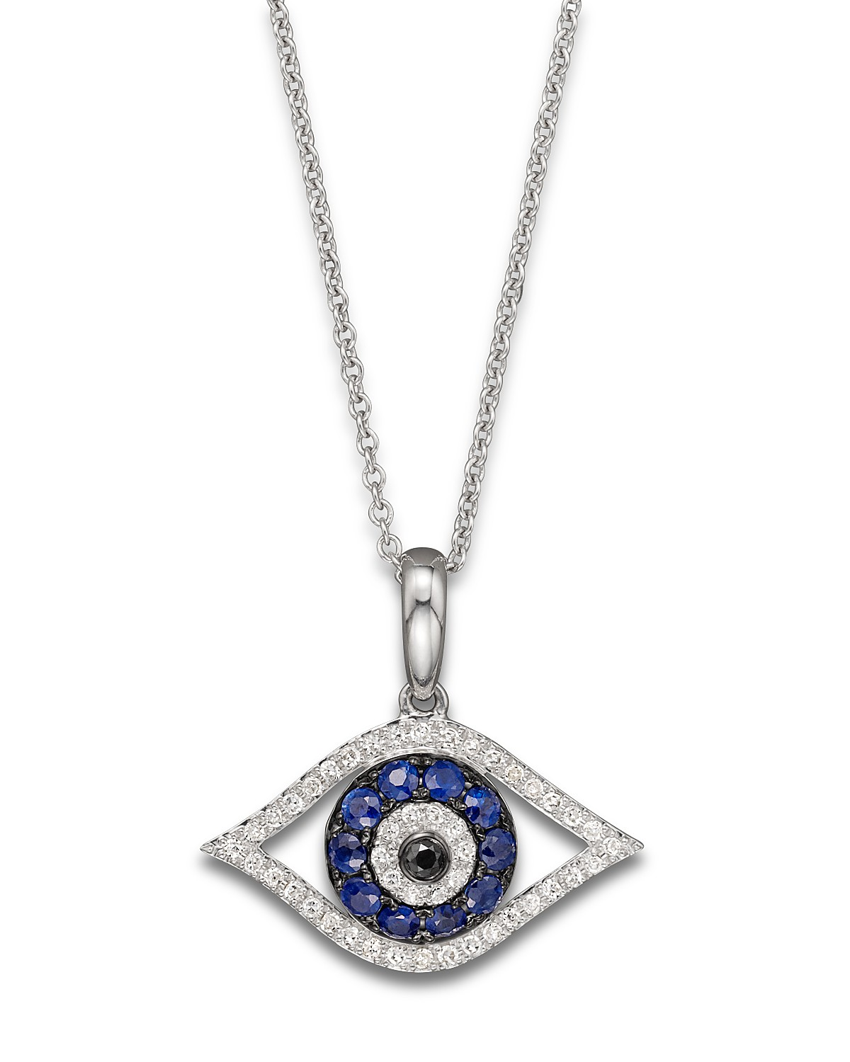 Diamond and sapphire evil eye pendant necklace in 14k white gold 18 pdpimgshortdescription aloadofball Image collections