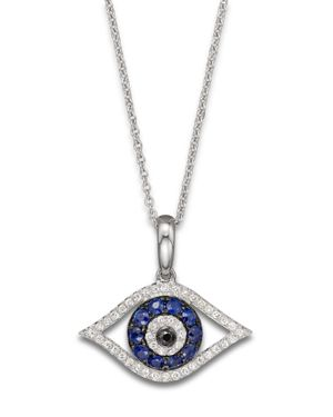 Diamond and Sapphire Evil Eye Pendant Necklace in 14K White Gold, 18
