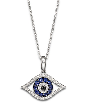 Diamond and Blue Sapphire Evil Eye Pendant Necklace in 14K White Gold, 18