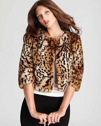 DKNY - Cropped Leopard Faux Fur Jacket