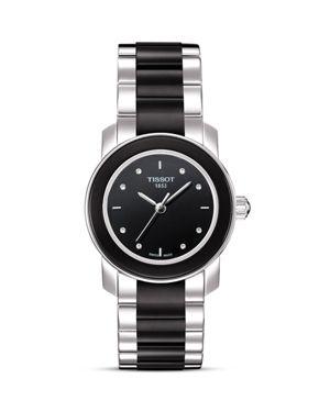 Tissot Cera Women's Black Diamonds Ceramic Quartz Watch, 28mm