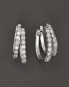 Diamond Double hoop earrings in 14k White gold, .50 ct. t.w. - Bloomingdale's_0