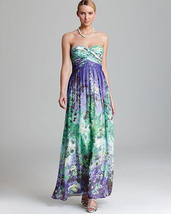 Aidan by Aidan Mattox - Strapless Floral Print Gown - 100% Exclusive