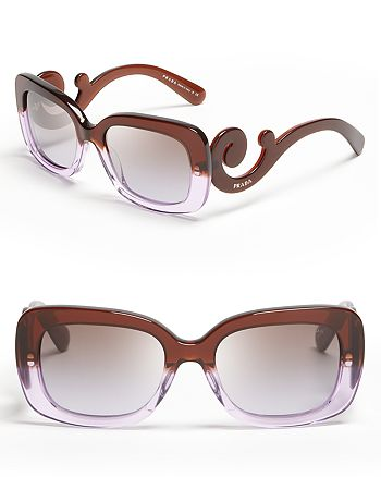 Prada - Women's Rectangle Baroque Sunglasses, 54mm