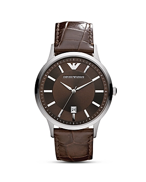 Emporio Armani Round Silver & Brown Watch with Crocodile Embossed Strap, 43mm