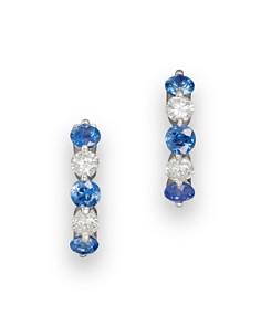 Bloomingdale's - Blue Sapphire and Diamond Huggie Hoop Earrings in 14K White Gold, .20 ct. t.w.- 100% Exclusive