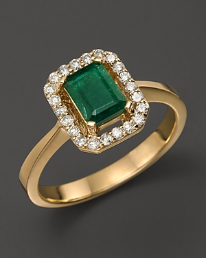 Emerald and Diamond Ring in 14K Yellow Gold - 100% Exclusive