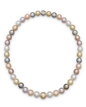 Tara Pearls - Tara Pearls Natural Multicolor Freshwater, Tahitian, White South Sea and Gold South Sea Cultured Pearl Strand Necklace, 17""