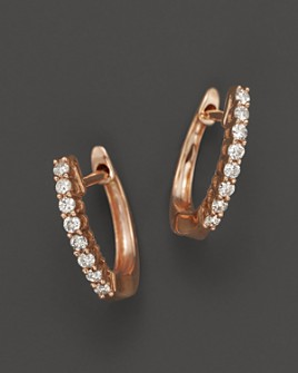 Bloomingdale's - Diamond Huggie Hoop Earrings in 14K Rose Gold, - 100% Exclusive