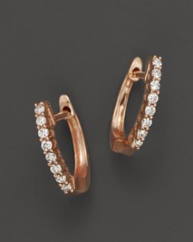 Bloomingdale S Diamond Huggie Hoop Earrings In 14k Rose Gold 100 Exclusive