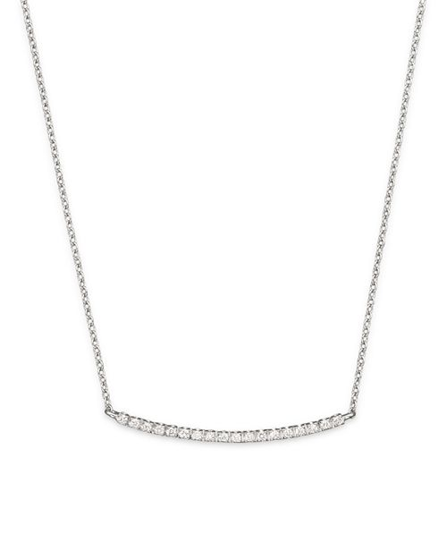 """Meira T - 14K White Gold and Diamond Bar Necklace, 16"""""""