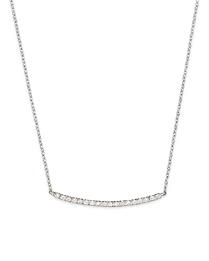 Meira T 14K White Gold and Diamond Bar Necklace, 16