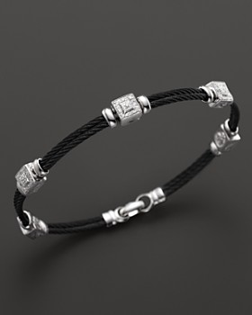 Charriol - Charriol Celtic Noir 18K White Gold and Black PVD Stainless Steel Nautical Cable Bracelet with Diamonds