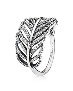 PANDORA Sterling Silver & Cubic Zirconia Light as a Feather Ring - Bloomingdale's_0