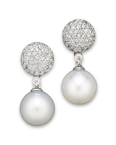 Cultured White South Sea Pearl And Diamond Drop Earrings In 14k Gold 11mm