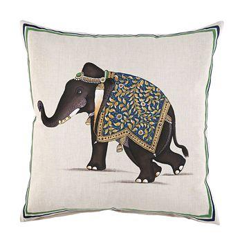 "John Robshaw - Indian Elephant Decorative Pillow, 20"" x 20"""