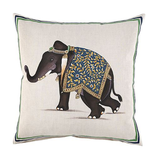 "JR by John Robshaw - Indian Elephant Decorative Pillow, 20"" x 20"""