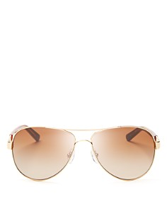Tory Burch - Women's Classic Stripe Aviator Sunglasses, 57mm