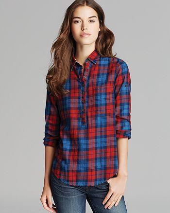JACHS Girlfriend - Mia Plaid Print Button-Down Shirt