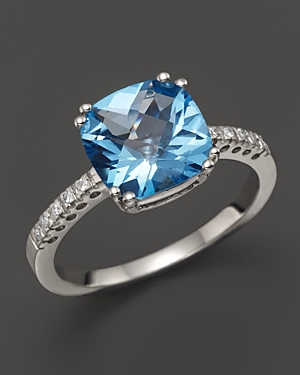 Blue Topaz Cushion Ring with Diamonds in 14K White Gold - 100% Exclusive
