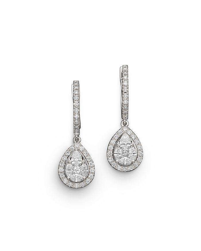 Bloomingdale's - Diamond Fancy Cut Teardrop Earrings in 14K White Gold, 1.40 ct. t.w. - 100% Exclusive