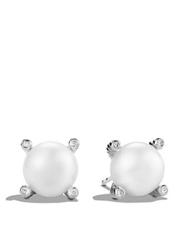 David Yurman - Pearl Earrings with Diamonds