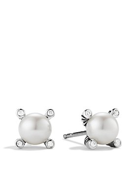 David Yurman - Pearl Earrings with Diamonds