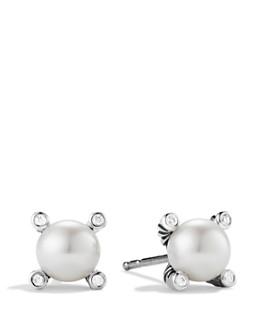 David Yurman - Small Pearl Earrings with Diamonds