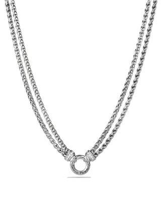 Double Wheat Chain Necklace with Diamonds, 18""