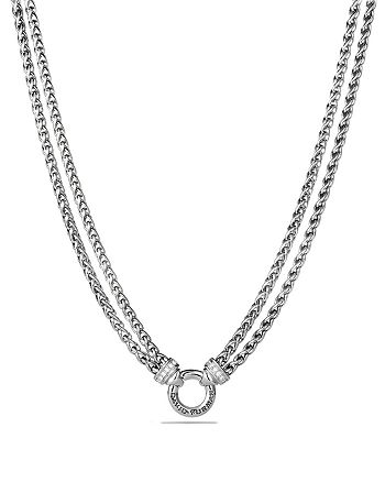 David Yurman - Double Wheat Chain Necklace with Diamonds, 16""