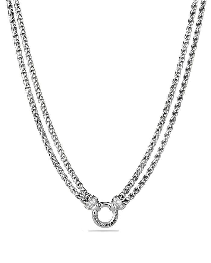 David Yurman Double Wheat Chain Necklace with Diamonds    Bloomingdale's