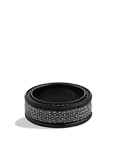 David Yurman - Streamline Three-Row Band Ring with Black Diamonds