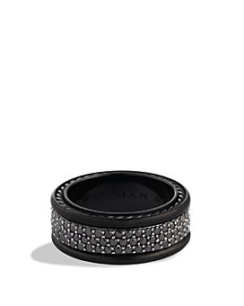 David Yurman - Streamline® Three-Row Band Ring with Black Diamonds