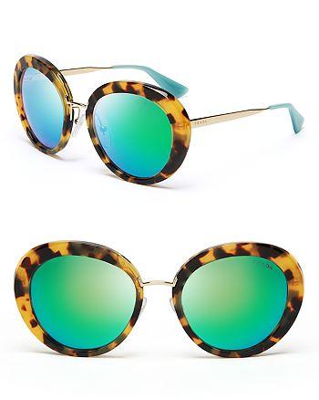 Prada - Women's Round Mirrored Oversized Sunglasses