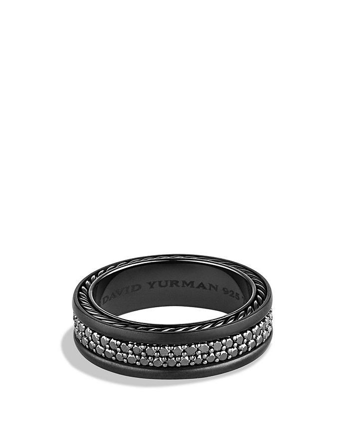 David Yurman - Streamline® Two-Row Band Ring with Black Diamonds