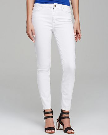 7 For All Mankind - High Rise Ankle Skinny Jeans in White