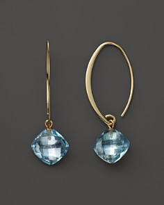 14K Yellow Gold Simple Sweep Earrings with Blue Topaz - 100% Exclusive - Bloomingdale's_0