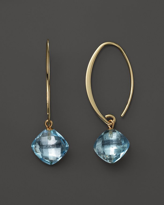 Bloomingdale's - 14K Yellow Gold Simple Sweep Earrings with Blue Topaz- 100% Exclusive