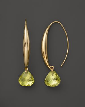 14K Yellow Gold Large Sweep Earrings with Lemon Quartz - 100% Exclusive