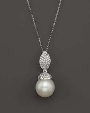 14K White Gold Cultured White South Sea Pearl and Diamond Pendant Necklace, 18